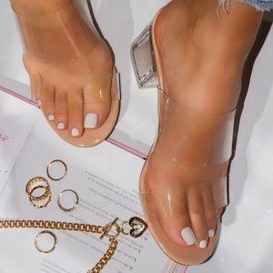 Clear Low block Heeled Sandal